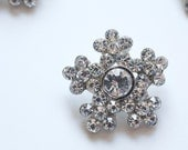 3 Metal Rhinestone Buttons Crystal Snowflake, 25mm