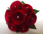 Small Red Rose Bouquet with Crystal Accents, Bridesmaid Bouquet