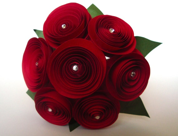 Items similar to small red rose bouquet with crystal