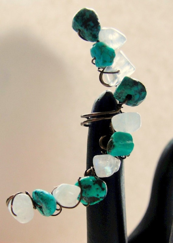 Ear Cuff Ear Vine Genuine Turquoise and Moonstone Antique Bronze Twisted Wire Art