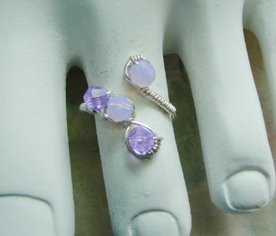 Purple Toe Ring,  Sterling Silver, Violet Opal, Swarovski Crystals, Silver Hand Wrapped Art Jewelry