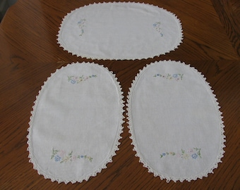 Doilies Hand Embroidered Set of 3