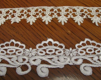 Vintage Lace Trim French Victorian Style White and Ivory 2 Pieces Over 2 Yds Total