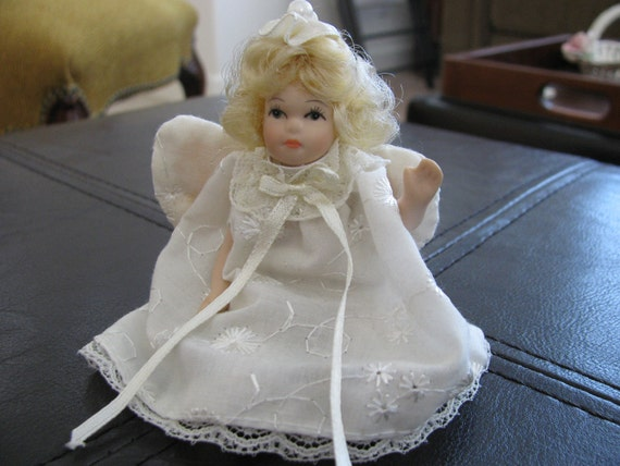Christmas Angel Doll Ornament, Porcelain Jointed by Delton