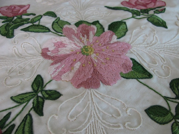 Hand Embroidered Throw Pillow Ready to Sew by Something Special