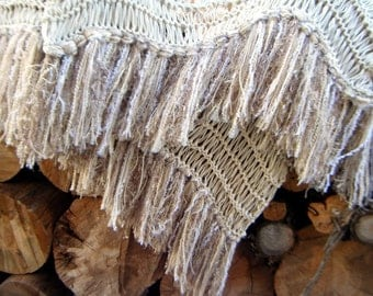Ivory Fringe Throw Blanket. Knit Home Accent Cabin Decor Pale Cream Taupe Off White Eggshell