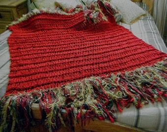 Holiday - Decorate for Christmas. Fringe Red Throw Blanket. Home Decor Gold Green Red. Free Shipping Etsy Decoration