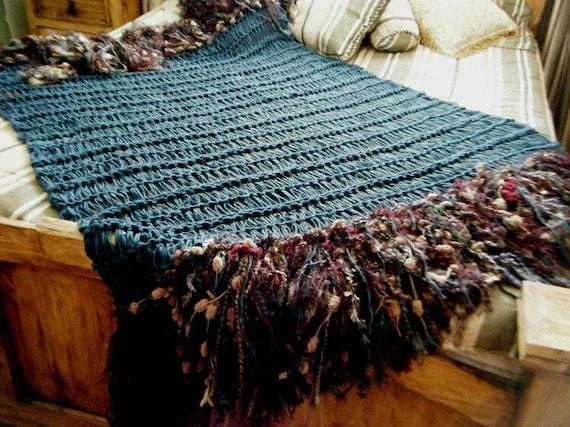 Teal Burgundy Maroon Fringe Throw Blanket Home Decor Blue