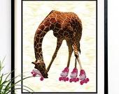 40% OFF CYBER SALE Giraffe roller skates baby nursery safari baby jungle nursery art print (1007)