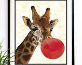 40% OFF CYBER SALE Funny Giraffe Art print Giraffe red bubble gum mixed media art giraffe wall art print (9011)