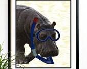 40% OFF CYBER SALE Hippo art print hippo scuba dive snorkel african animal hippo prints 8x10 (1008)