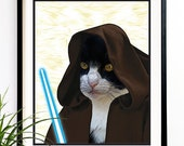 40% OFF CYBER SALE Cat Art print Obi Cat Kenobi Star wars art print star wars prints movie art prints (1035)