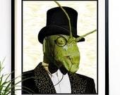 40% OFF CYBER SALE Grasshopper Art print Sir Grasshopper monocle Insects art 8x10 (1045)