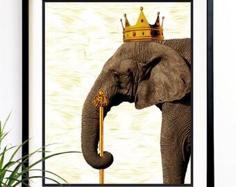 40% OFF CYBER SALE Elephant Art print Office decor King elephant crown elephant print wall art elephant decor 8x10 (1018)