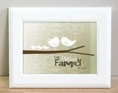 Personalized family birds on a branch - 8 x 10 - Choose how many birds you want