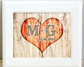 Rustic Wedding Gift - Wall Art Heart on a Tree print - 5 x 7 - Personalized - Great Anniversary Gift