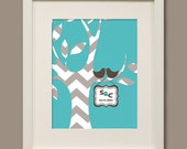 Wedding gift - Chevron love birds tree customized print  - 8 x 10
