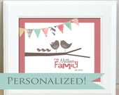 Personalized family birds on a branch with banner bunting - 8 x 10 - customizable