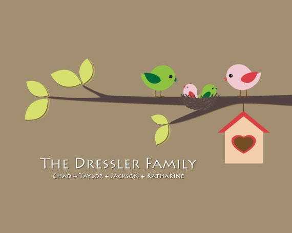 Personalized family birds on a branch with nest - 8 x 10 - Choose how many birds you want
