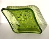 Small Pine Green Diamond Dish: Tiara glass, ashtray, vintage