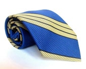 Royal Blue and Mustard Yellow Striped Tie - Prince Consort made by Schrater - Button Down Tie