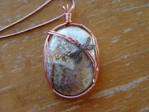 Ocean Jasper Copper Wire Wrapped Pendant Dragonfly