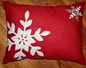 Red With White Snowflake Christmas or Winter Pillow