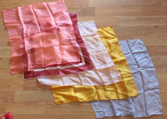Lot of  5 Vintage Sheer Silk Handkerchiefs Scarves Many Colors, Similar Sizes