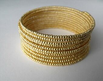 Gold Memory Wire Beadwork  Bracelet