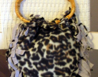 Leopard Print Fleece Hand Tied Purse