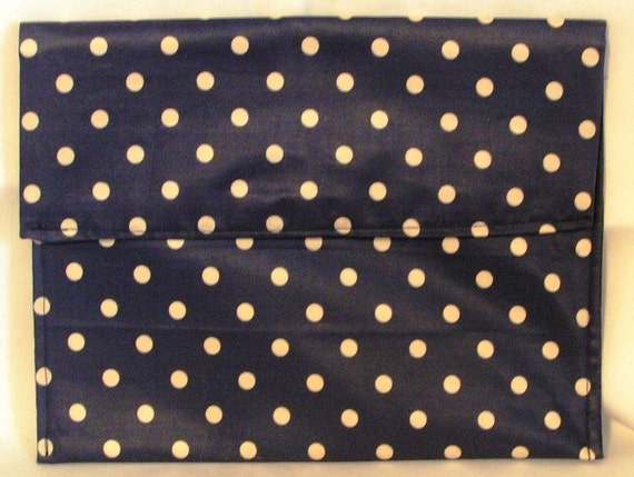 Large blue and White Polka Dot Clutch Make Up Bag 2 Sizes