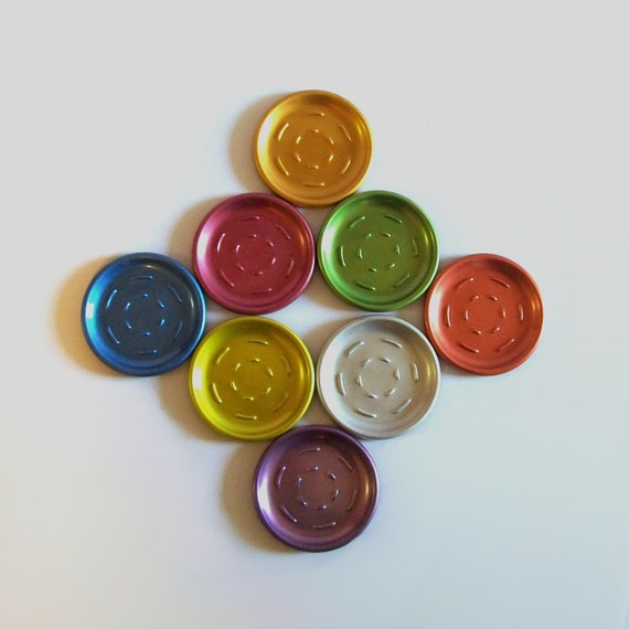 Antique 50s Set of 8 ANODIZED RAINBOW Coasters