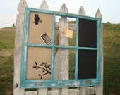 burlap covered corkboard, chalkboard, and chickenwire combo in vintage barnwood window