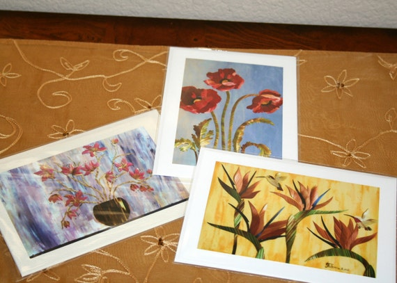 Straw Art Post Cards - Set of 3 Cards with Envelopes