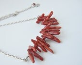 coral necklace -tribal necklace, under 50,july birthstone,Jewelry ruby