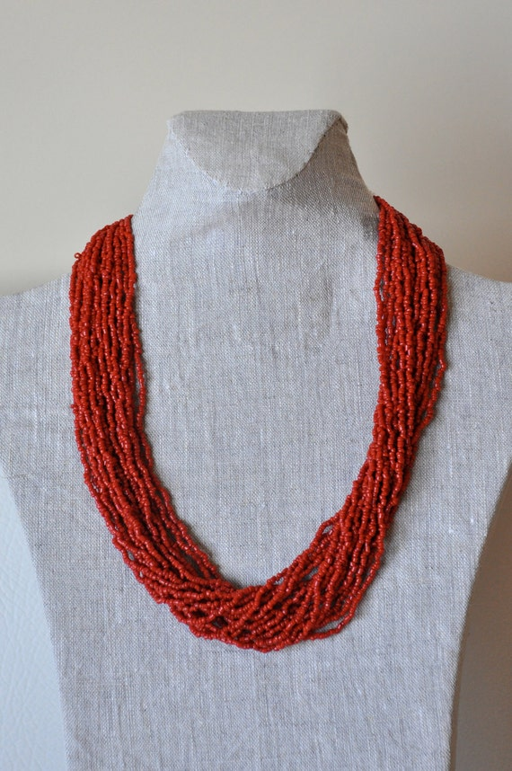 coral necklace, tribal necklace, ethnic necklace.red neclace, christmas