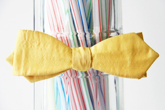 Tart Lemon Yellow Self Tie Bow Tie
