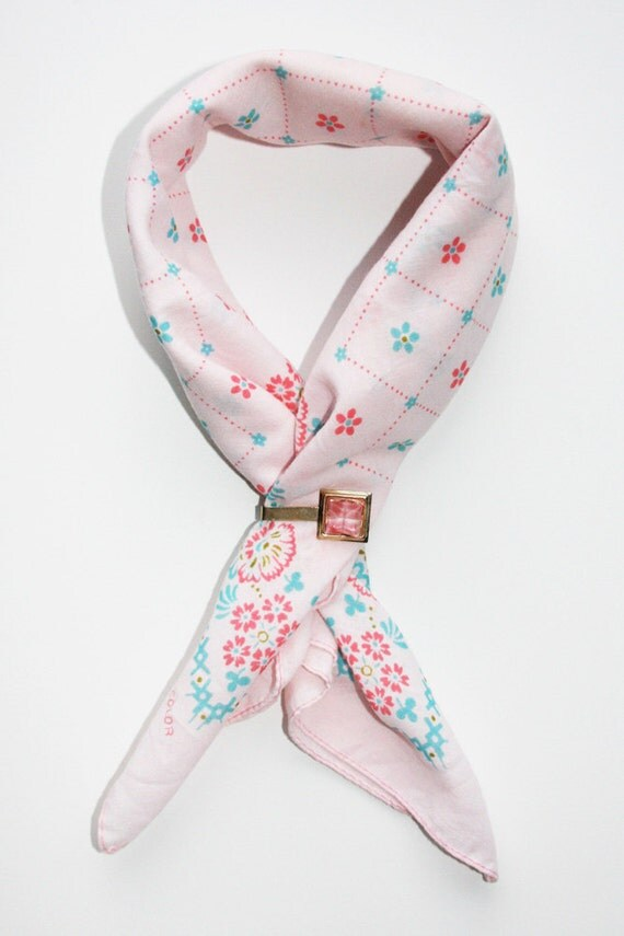 Nichols Pink Floral Neckerchief and Clip