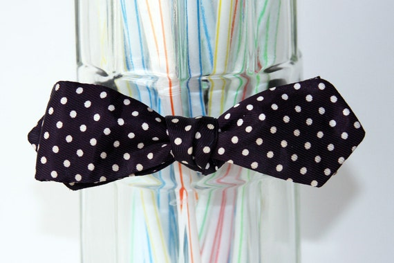 A Classic Navy Polka Dotted Self Tie Bow Tie