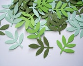 100 Mixed Green Frond Fern Leaf  punch die cut cutout confetti scrapbook embellishments - No925