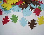 100 Mixed color oak leaf punch die cut cutout confetti scrapbooking embellishments - No263