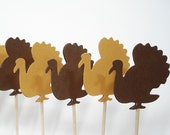 24 Decorative Brown Turkey Thanksgiving Toothpicks/Party Picks/Cupcake Toppers - No318