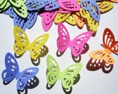 50 Bright Multi Detail Butterfly Punch Cutouts Confetti Embellishments - No382