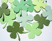 100 Mixed Green Lucky Shamrock Four-Leaf Clover punch cutout die cut confetti embellishments - No922