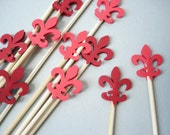 12 Decorative Mixed Red Fleur De Lis Skewers - Cupcake Toppers - Party Picks - Fruit Skewers - Centerpiece Sticks - NoS3