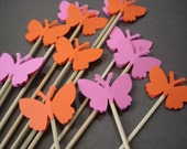 12 Decorative Pink Orange Butterfly Skewers - Cupcake Toppers - Party Picks - Fruit Skewers - Centerpiece Sticks - NoS4