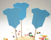 12 Blue Onesie Party Picks - Toothpicks - Cupcake Toppers - Food Picks - No633
