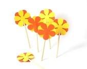 24 Decorative Orange Bright Yellow Retro Flower Party Picks, Cupcake Toppers, Toothpicks, Food Picks - No377