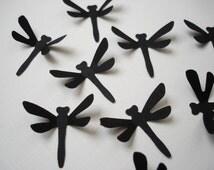 100 Black dragonfly punch die cut cutout confetti scrapbooking embellishments - DE102