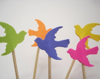 24 Decorative Bright Color Dove Bird Toothpicks Party Picks Cupcake Toppers - No426
